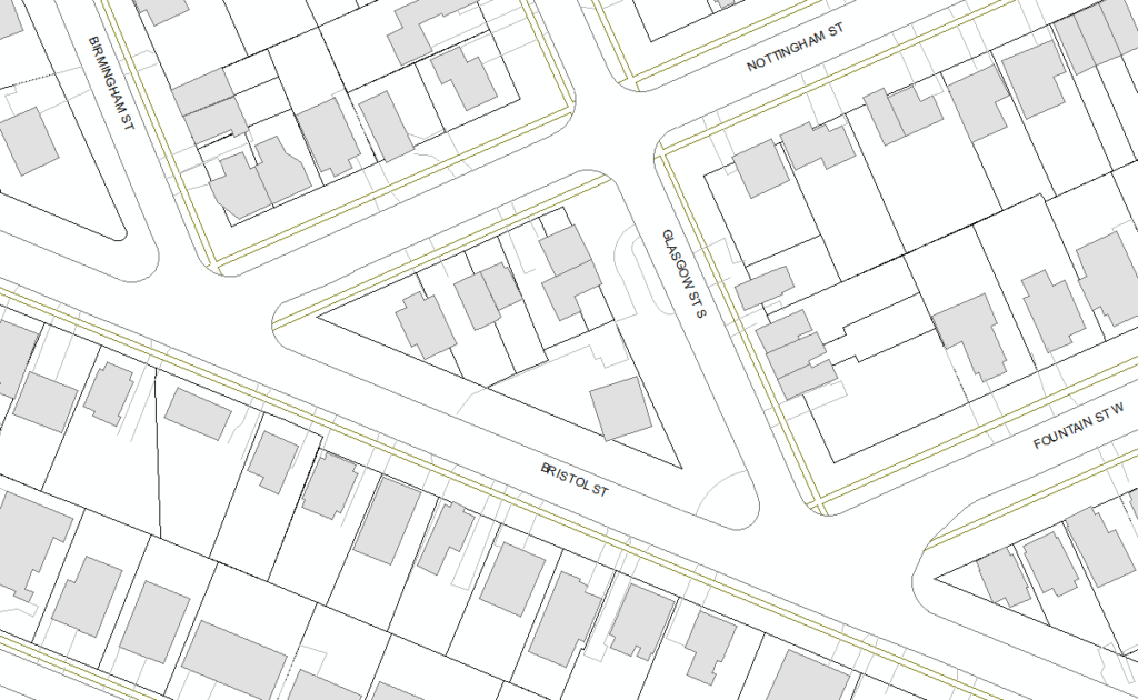 A map showing the location of a hydro pole relocation on Bristol Street.