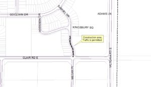 Map of construction area between Clair Road East and Hodgson Drive