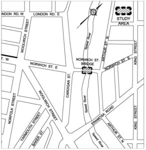 Map of area of construction on the Norwich Street Bridge on Norwich Street East