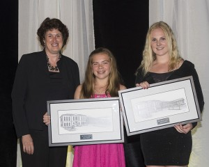 Emilie and Olivia Renaud accepting Mayors Award from Mayor Farbridge